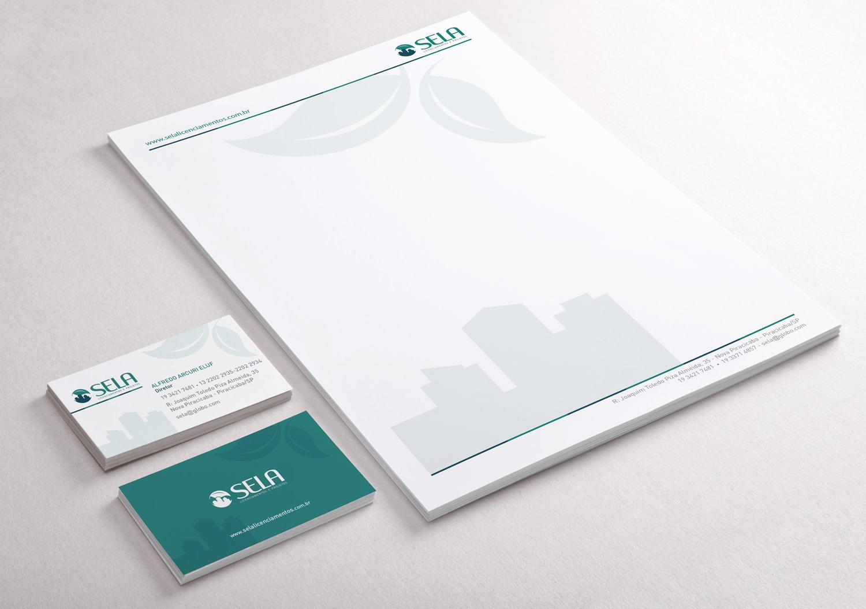 cartão de visita e papel timbrado sela